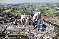 Europe, Germany, North Rhine-Westphalia, Niederaussem, Aerial view of lignite surface mining power plant - CS015312