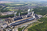 Europe, Germany, North Rhine-Westphalia, Frimmersdorf, Aerial view of lignite surface mining power plant - CS015318