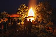 Austria, Lower Austria, Wachau, Rossatz, View of bonfire at midsummer festival - SIEF001645