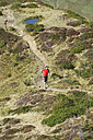 Austria, Kleinwalsertal, Mid adult man running on mountain trail - MIRF000262