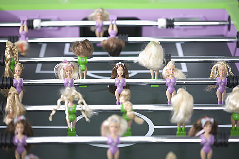 Soccer table with female figurines, close up - HK000397