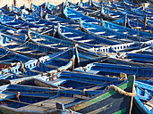 Morocco, Essaouira, Blue fishing boat at port - BSCF000085