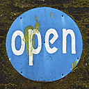 Indonesia, Bali Island, Denpasar, Open sign on wall, close up - WVF000181