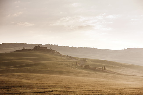 Italy, Tuscany, View of farmhouse at sunrise - FLF000007