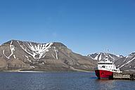 Europe, Norway, Spitsbergen, Svalbard, Longyearbyen, View of icebreaker ship at harbour - FO003710