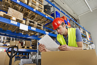 Germany, Bavaria, Munich, Manual worker looking document in warehouse - WESTF018033