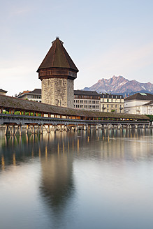 Switzerland, Lucerne, View of Chapel Bridge with water tower - MSF002491