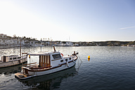 Spain, Menorca, Harbour of Es Castell in evening light - MSF002510