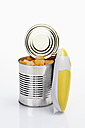 Tropical Fruit in tin with electric can opener on white background - CSF015491