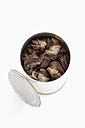 Preserved snails in tin can on white background - CSF015664
