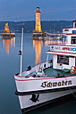 Germany, Lindau, View of port entrance with ship moored at harbour - SH000633