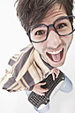 Young man with crazy glasses and keyboard, portrait - MAEF004214