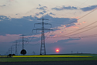 Germany, Bavaria, View of electricity pylon in rapeseed field at sunset - FOF003869