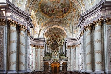 Austria, Lower Austria, Mostviertel, Herzogenburg, View of Collegiate Church with fresco painting - SIE002215