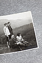 Photograph of hiking couples in alps on gray background - ANB000049