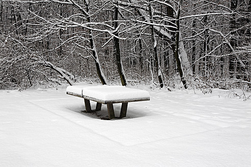 Germany, Snowy ping pong table - ANBF000131