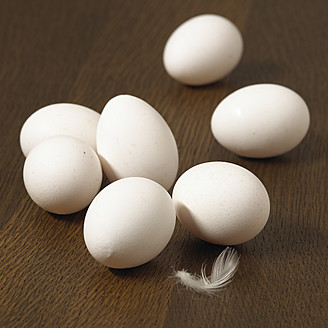 White eggs on table, close up - SRSF000213