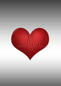 Heart symbol with line graph against grey background - CSF015813
