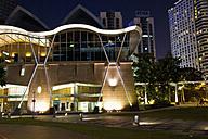 Malaysia, Kuala Lumpur, View of Kuala Lumpur Convention Centre at night - MBE000249