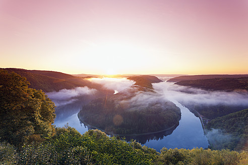 Germany, Saarland, View of mountain with River Saar - MSF002652