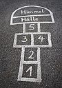 Austria, Hopscotch game for kids on street - WWF002149