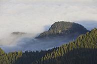Germany, Bavaria, Walchensee RegionView of foggy bavarian alps - MIRF000356