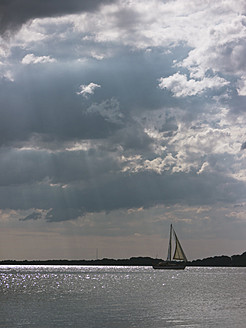 Germany, Sail boat in Baltic Sea at Rugen Island - LFF000347