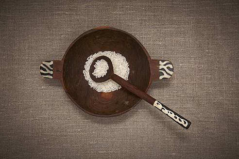 Wood bowl with rice and spoon - TLF000640