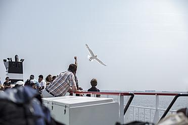 Netherlands, Bird flying over ferry - DW000167