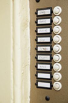 UK, England, Oxford, Door bells with sign, close up - JMF000183