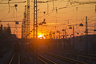 Germany, Bavaria, Munich, View of main station at sunset - LFF000444