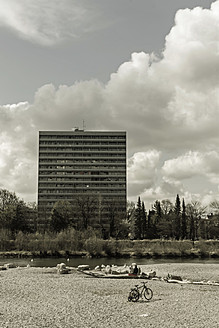 Germany, Bavaria, Munich, High Rise by River Isar - LF000446