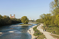Germany, Bavaria, Munich, People by River Isar, St Maximilian church in background - LFF000450