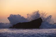Portugal, Algarve, Sagres, View of Atlantic ocean with breaking waves at sunset - MIRF000418