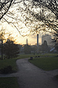 Germany, Frankfurt, View of park with Messeturm in background - MUF001197