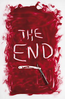 The end text written in blood with razor on white background - MUF001210