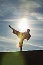 Germany, Bavaria, Young man doing martial arts training - MAEF004671