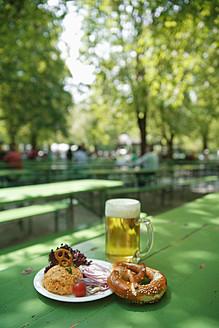 Germany, Bavaria, Munich, Vegetarian dish with mug of beer - TCF002609