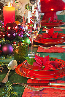Germany, Cologne, Place setting at dining table for christmas - GWF001792
