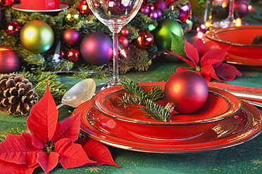 Germany, Cologne, Place setting at dining table for christmas - GWF001794