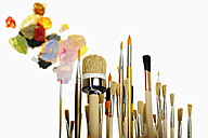 Variety of paint brushes against white background, close up - LRF000545