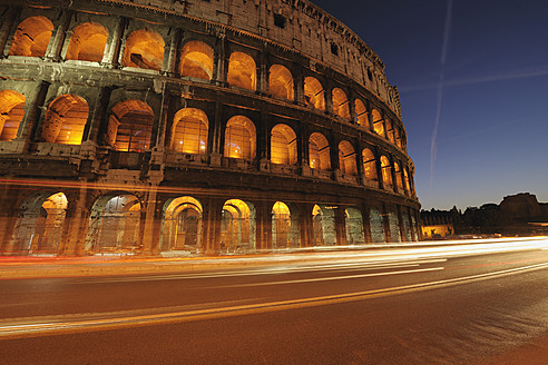 Europe, Italy, Rome, View of colosseum at night - RUEF000879