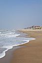 Belgium, View of beach, Blankenberge town in background - GWF001897