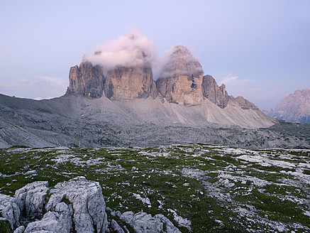 Europe, Italy, View of Tre Cime di Lavaredo at sunrise - BSCF000116