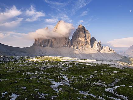 Europe, Italy, View of Tre Cime di Lavaredo at sunrise - BSCF000119