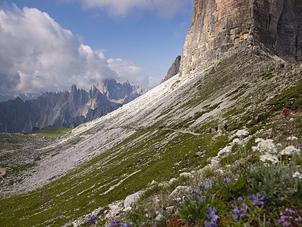 Europe, Italy, Hikers on National Park of Sesto Dolomites - BSC000128