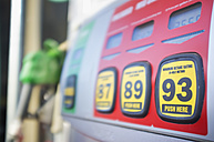 USA, Texas, Hondo, Close up of fuel pump display at gas station - ABAF000185