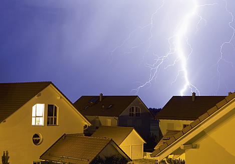 Germany, Bavaria, Sauerlach, Lightning flashes in night - WBF001227