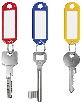Keychain with three keys against white background, close up - WBF001556