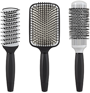 Hair brushes on white background, close up - WBF001576